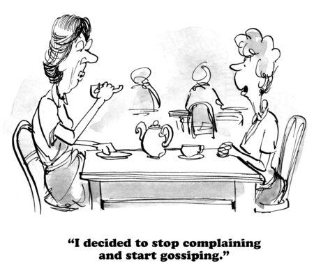 gossiping: Cartoon about gossiping. Stock Photo