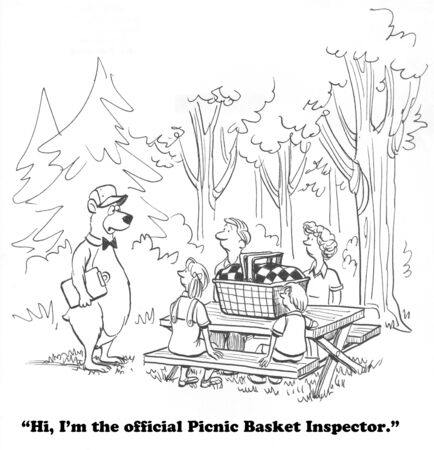 inspector: Picnic basket inspector Stock Photo