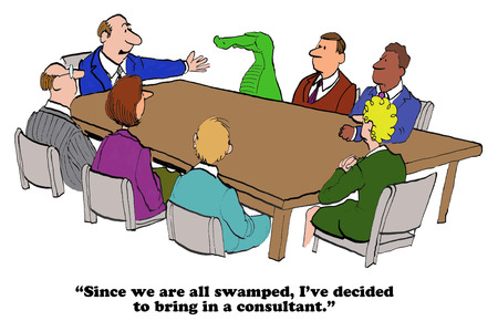 overwhelmed: Business cartoon about being swamped at work. Stock Photo