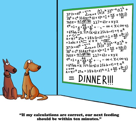 predicting: Dog cartoon about predicting dinner time.