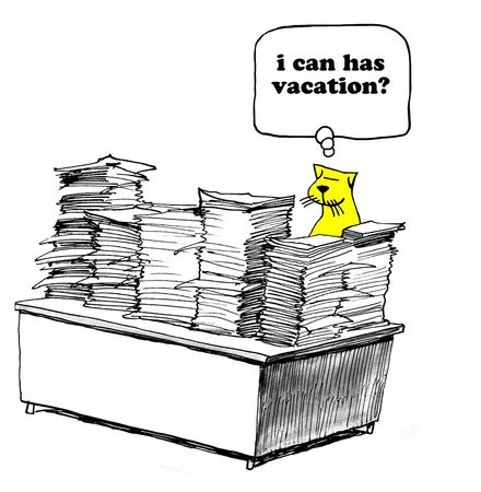Business cartoon about preferring vacation over paperwork. Фото со стока
