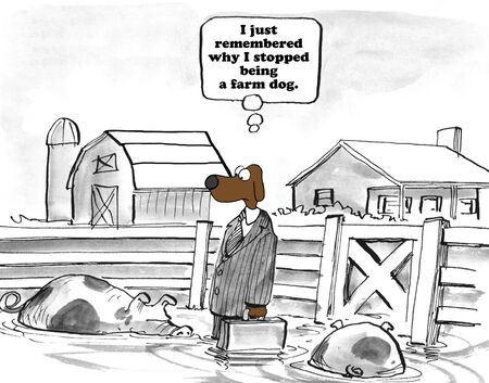 dog pen: Business cartoon about career change.