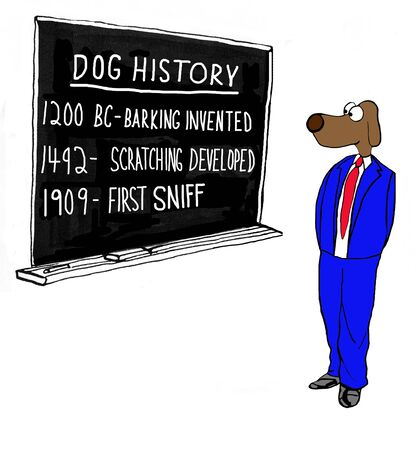 sniffing: Cartoon about dog history.