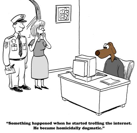 Cartoon about rude language and behavior on the internet. Stock Photo