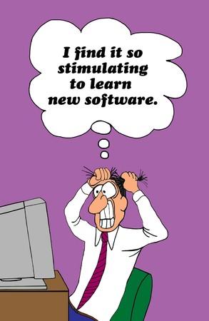 Beeldverhaal over de frustratie van het leren van nieuwe software. Stockfoto