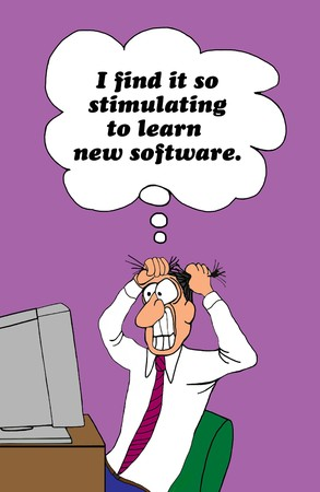 Business cartoon about the frustration of learning new software.