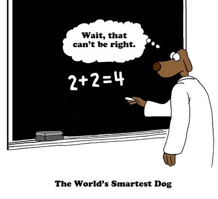 lack of confidence: Worlds Smartest Dog Cartoon