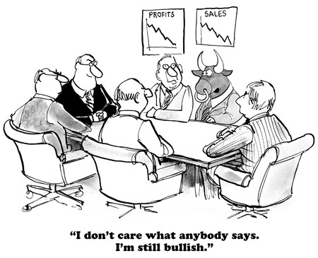 realist: Business cartoon about being bullish even when sales are down.