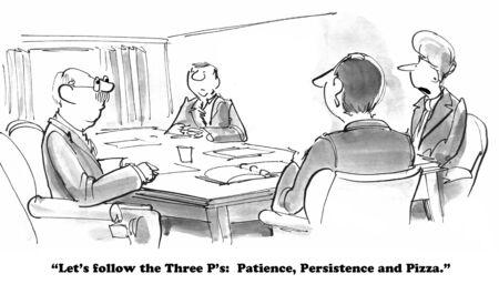 Patience, Persistence and Pizza Archivio Fotografico