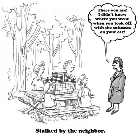 neighbor: Neighbor is Stalking Family Stock Photo