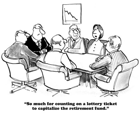 humor: Business cartoon about a shortfall in the retirement fund.