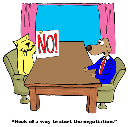 mediate: Cartoon about a negative beginning to a negotiation. Stock Photo
