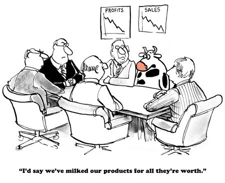 humor: Business cartoon about milking the products.