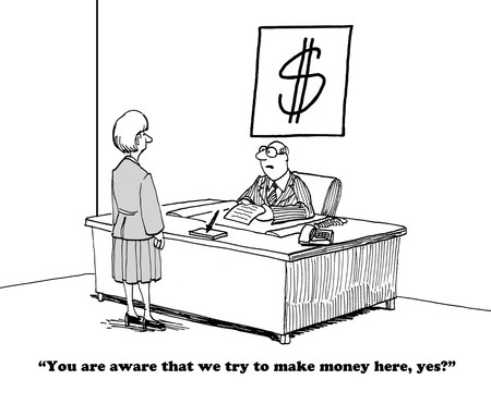gag: Business cartoon about the importance of making money. Stock Photo
