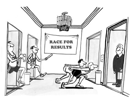 quarterly: Business cartoon about racing for results.
