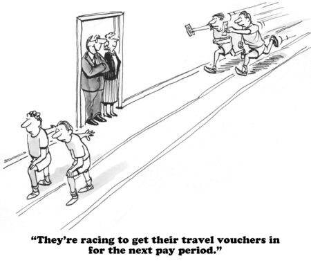 quickly: Business cartoon about getting travel vouchers in quickly. Stock Photo