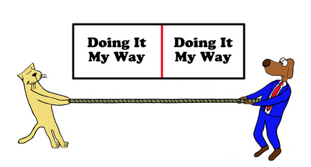 Business cartoon about doing it my way.
