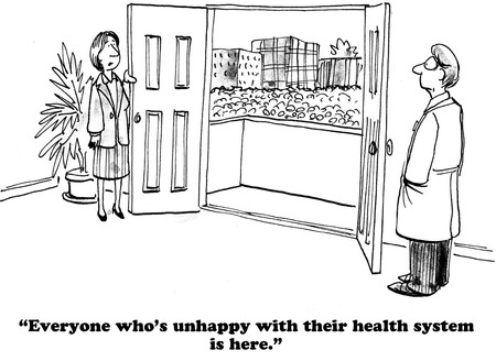 dissatisfaction: Medical cartoon about citizen dissatisfaction with the health insurance mess.