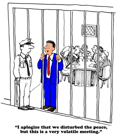 Business cartoon about a volatile meeting.