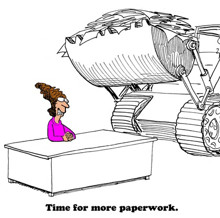 overwhelmed: Business cartoon about a lot of paperwork. Stock Photo