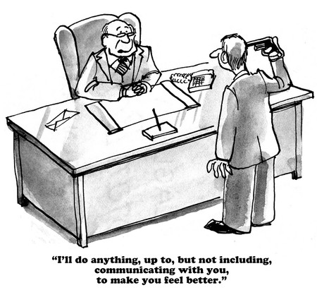 uncaring: Business cartoon about an uncaring boss.