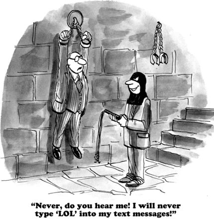 lol: Business cartoon about not using LOL in text messages.