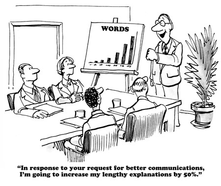 explanations: Business cartoon about overly lengthy explanations. Stock Photo
