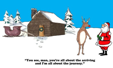 red nosed: Christmas cartoon about Santa being about the arrival and Rudolph about the journey.