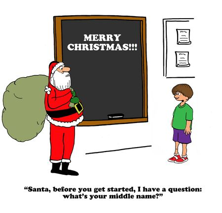elementary schools: Christmas cartoon about a student who wants to know Santa Claus middle name.