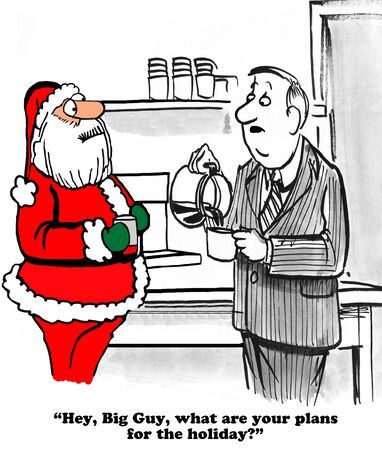 chit: Christmas cartoon about an oblivious coworker talking with Santa Claus. Stock Photo