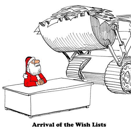 Kerst cartoon over een bulldozer het leveren van vele verlanglijstjes aan de kerstman. Stockfoto