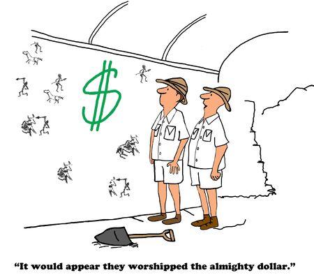 societies: Business cartoon about societies worshiping money.