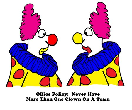 not working: Business cartoon about two clowns on a team. Stock Photo