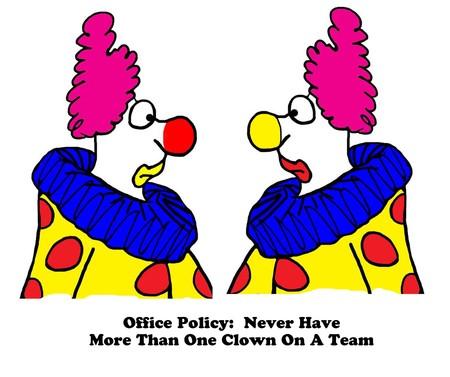 Business-Karikatur über zwei Clowns in einem Team. Standard-Bild