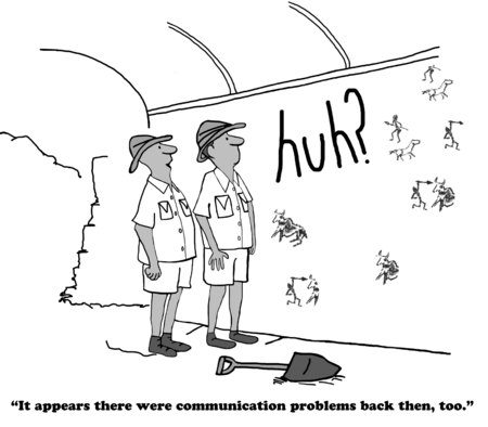 miscommunication: Cartoon about lack of clarity in communication. Stock Photo