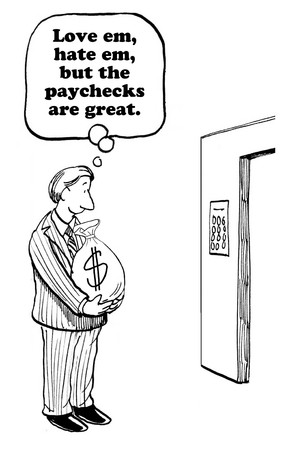 paycheck: Business cartoon about an employee who appreciates his paycheck.