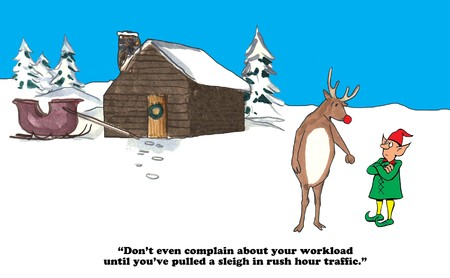 Christmas cartoon about Rudolph and an elf comparing workloads. Stock Photo