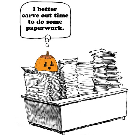 out time: Cartoon about a pumpkin carving out time to finish the paperwork.