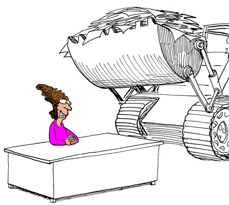 too much: Illustration of businesswoman stressed by so much paperwork, being delivered by a tractor.