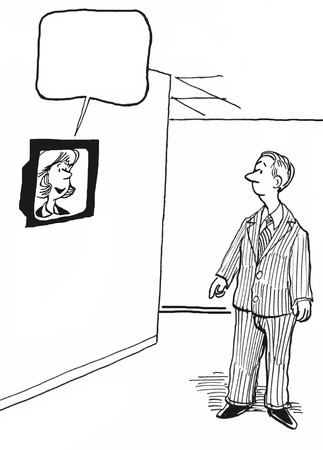 cartoons television: INSERT YOUR OWN TEXT.  Business leader is talking to employees via a tv monitor.