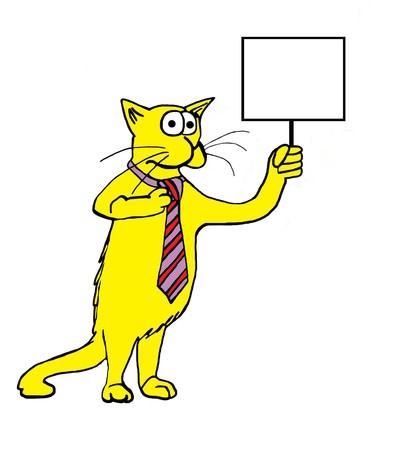 in insert: INSERT YOUR OWN TEXT. Cat wearing necktie and holding sign.