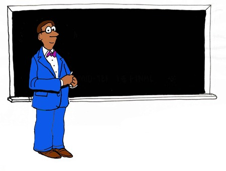 knowledgeable: Education illustration of african american, male teacher in front of blackboard.