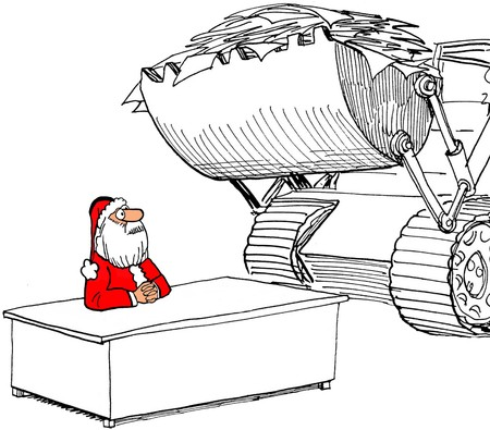 worldwide wish: Illustration of Santa Claus receiving so many wish lists that a tractor has to deliver them.