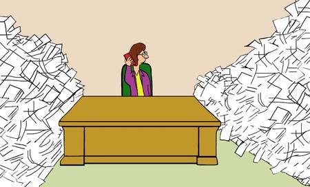 Illustration of businesswoman talking on cellphone and ignoring work. Stok Fotoğraf