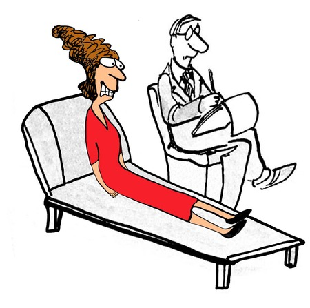 confide: Illustration of stressed woman in therapy.