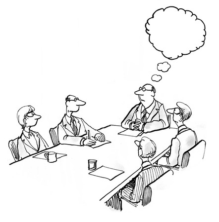 in insert: INSERT YOUR OWN TEXT.  Illustration of business meeting with boss thinking.