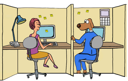 confide: Business illustration showing a businesswoman talking with her office mate, business dog.