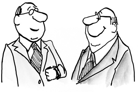 quarterly: Business illustration showing two smiling businessmen. Stock Photo