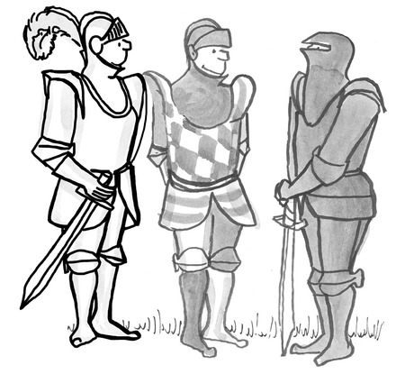 strategize: Illustration of three knights wearing armor. Stock Photo