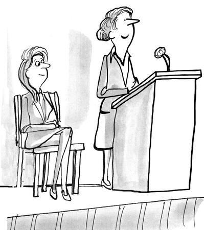 Business illustration of smiling businesswoman standing at lectern.